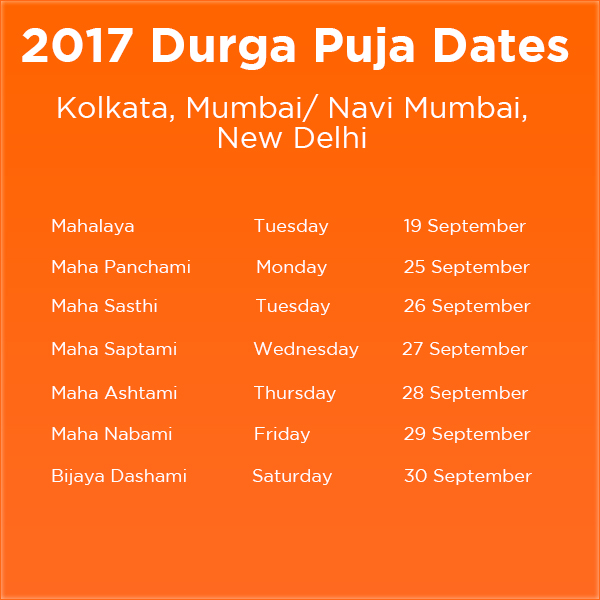 2017 Durga Puja Dates