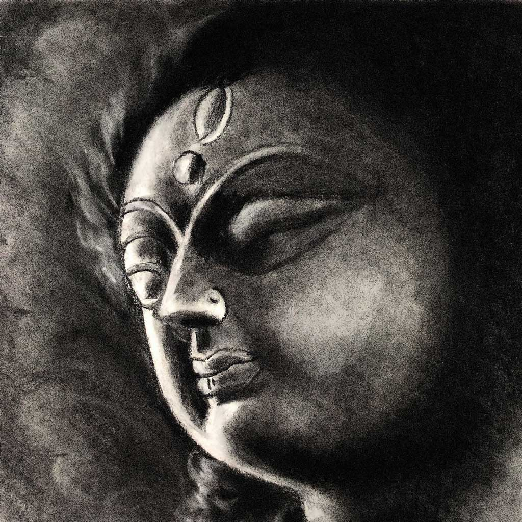 Ma Durga In Charcoal By Papiya Dutta
